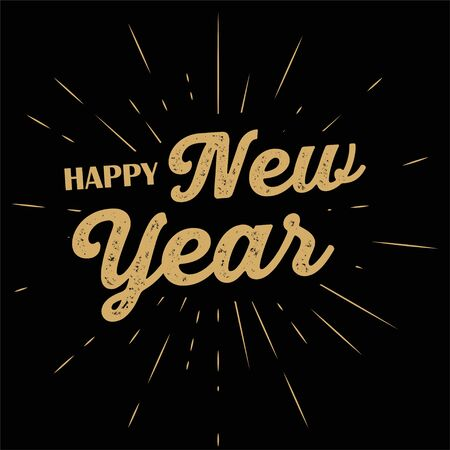 typographic illustration of Happy NEW YEAR retro label with light rays. lettering composition. Ilustrace