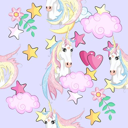 pattern with cute unicorns, clouds,rainbow and stars. Magic background with little unicorns Ilustrace