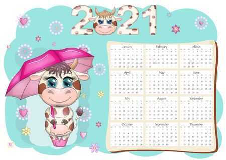 Calendar 2021. The bull is a symbol of the new year, Cartoon cow. Chinese horoscope calendar. Week starts on Sunday.