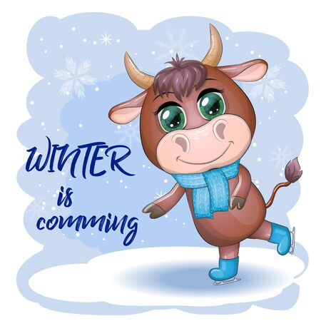 Cow on skates flat vector animal, lovely cow skating, brown cow making winter sport, outdoor winter activity, human like cow skating. Winter is cooming Ilustrace