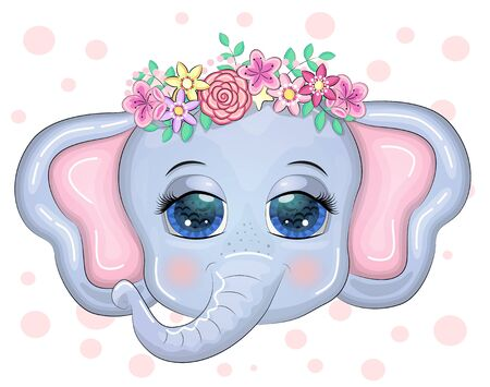 Cute cartoon Elephant head with flower wreath with beautiful eyes surrounded by flowers, children's illustration.. Flora and fauna concept.