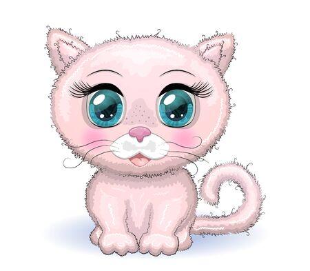 Cute cartoon pink cat, kitten on a background of flowers. Meow