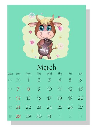 Calendar 2021. Cute bull and cow for March