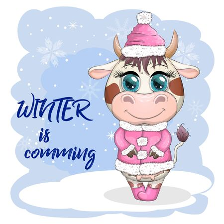 Cow on skates flat vector animal, lovely cow skating, brown cow making winter sport, outdoor winter activity, human like cow skating.