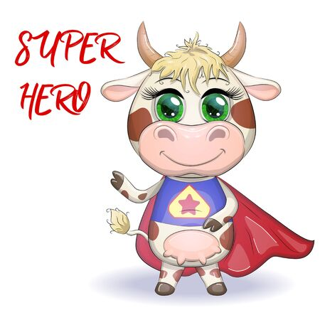 Cute cartoon cow, bull in a costume of hero with a red cloak, symbol 2021 on the eastern calendar