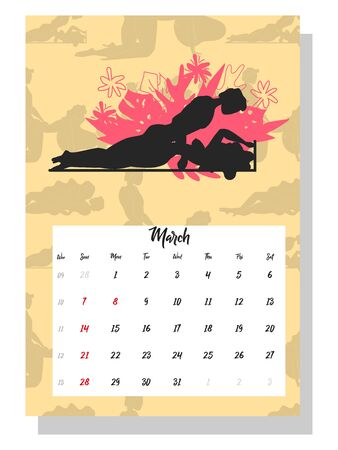 people make love. Concept calendar for 2021. Beautiful couples for every month of the year, silhouettes, relationships, family, Kama Sutra poses. Illustration