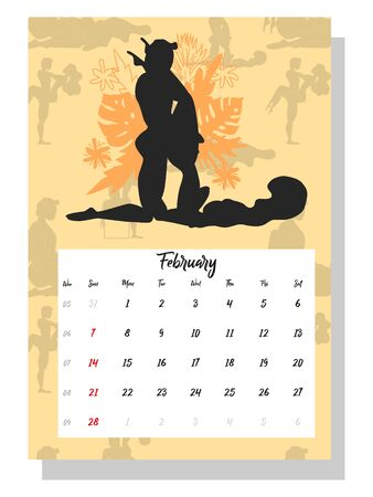 people make love. Concept calendar for 2021. Beautiful couples for every month of the year, silhouettes, relationships, family, Kama Sutra poses. Ilustração
