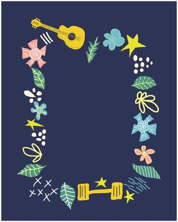 Banner, invite with floral frame template. Decorative border with beautiful flowers, hearts, guitars, dumbbells. hand drawn illustration with text space Vectores