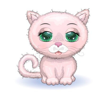 Cute Cartoon pink cat, kitten on a flowers background.