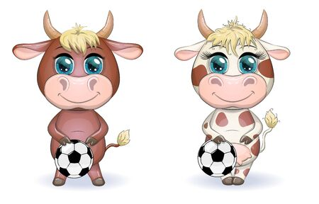 Cute cartoon cow, bull with a soccer ball, similarity between own points and hexagons of the ball, symbol of 2021