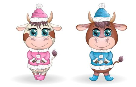 Funny cow, bull in a fur coat in cartoon style. Symbol of 2021.