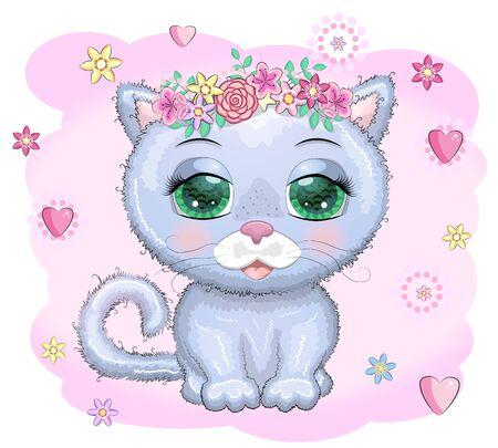 Cute Cartoon blue cat, kitten on a flovers background.