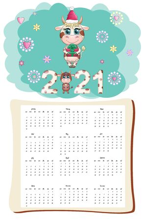 White ox calendar or planner for 2021 with kawaii cartoon bull or cow, New Year character, cute characters. Week Starts Sunday