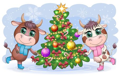 Funny cow in a fur coat with a Christmas tree on a background of snow. Card in cartoon style. Illustration