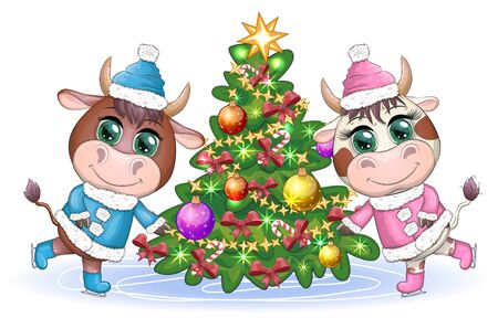 Funny cow in a fur coat with a Christmas tree on a background of snow. Card in cartoon style. Imagens - 148276767