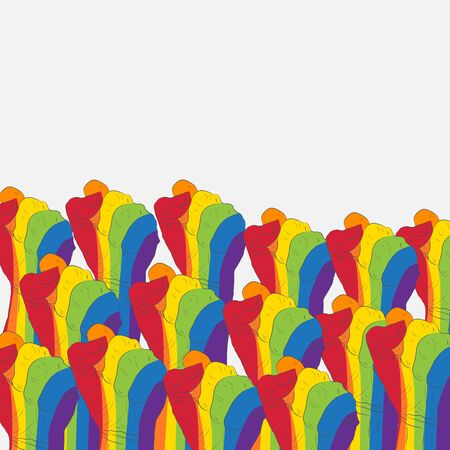 LGBT society. Gay rights. Freedom Day. Parade, poster. Hands. Crowd of protesters people. Illustration