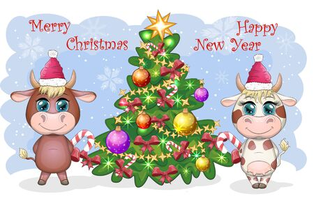 Cute cartoon cow and bull, near a Christmas tree with candy and in Santa's hat. Symbol of the year 2021 according to the Chinese calendar Illustration