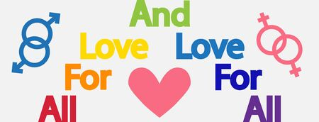 Lettering All for love and love for all. LGBT concept, motivating phrase in the colors of the rainbow. Decoding abbreviations LGBT.