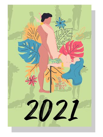 Kama Sutra poses. Concept calendar for 2021. Beautiful couples for every month of the year, silhouettes, relationships, family, people make love.