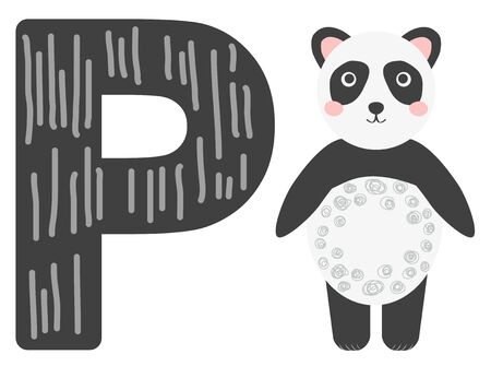 Cute animal alphabet for ABC book. illustration of cartoon. P letter for the Panda.