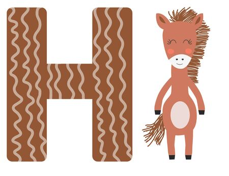 Cute animal alphabet for ABC book. illustration of cartoon. H letter for the Horse.