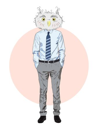 animal fashion illustration, anthropomorphic design, furry art, hand drawn illustration of an owl boy in a shirt and trousers, with a tie, businessman