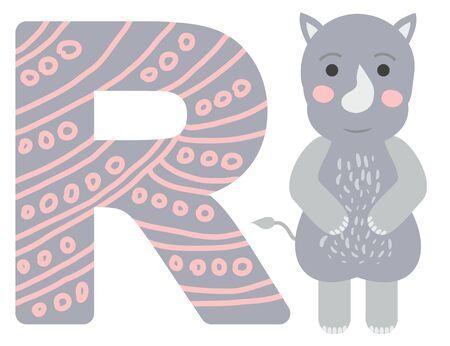 Cute animal alphabet for ABC book. illustration of cartoon. R letter for the rhinoceros.  イラスト・ベクター素材