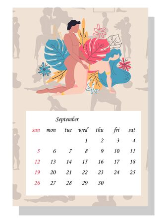 Concept calendar for 2021. Beautiful couples for every month of the year, relationships, family, Kama Sutra poses. people make love.