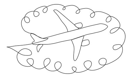 continuous line drawing of jet plane. continuous one line drawing minimalism design isolated on white background