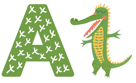 Cute animal alphabet for ABC book. illustration cartoon. A letter for the Alligator.