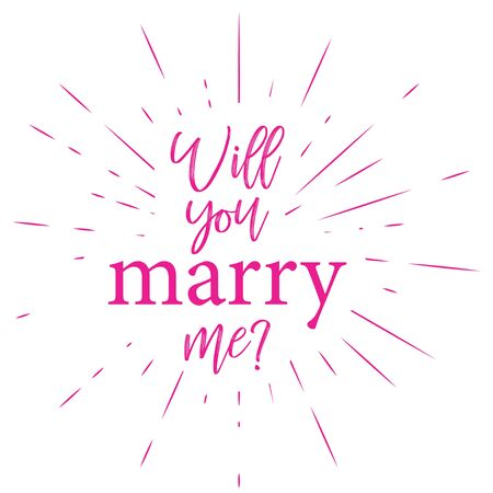 typographic illustration of MARRY ME retro label with light rays. lettering composition.