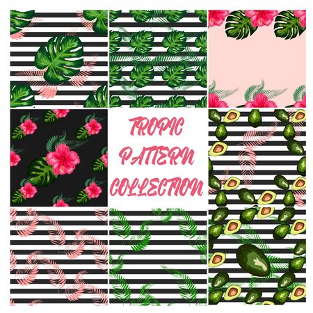 Set of 8 Tropical flower seamless pattern. Blossom flowers with trendy tropical leaves and avocado Ilustracja