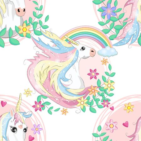 seamless pattern with cute unicorns, heart, clouds, rainbow and stars. Magic background with little unicorns.