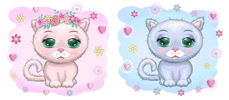 Cute cartoon blue and pink cat, kitten on a background of flowers among butterflies