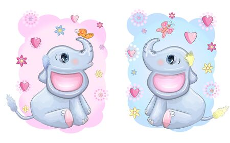Cute cartoon elephants boy and girl in love with beautiful eyes with a butterfly surrounded by flowers, children's illustration.