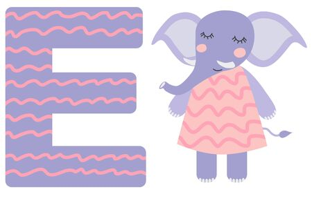 Cute animal alphabet for ABC book. illustration of cartoon . E letter for the elephant.