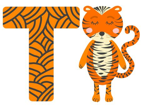 Cute animal alphabet for ABC book. illustration of cartoon . T letter for the Tiger.