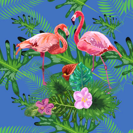 seamless pattern of trendy bird pink flamingos. art design wallpaper.