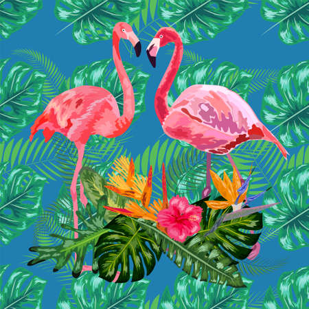 Trendy seamless pattern pink flamingo birds couple. Bright camelia flowers. Tropical monstera philodendron green leaves.