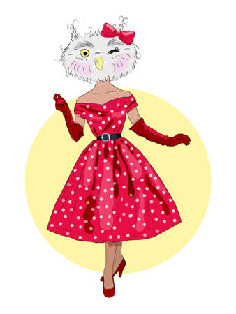 cute owl girl in a 60s dress and gloves, a sophisticated lady, fluffy art illustrations, fashion animals