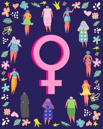 8 march, International Women's Day. Feminism concept template design Illustration