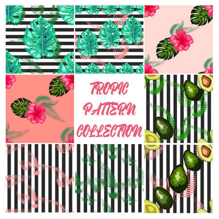 Set of 8 Tropical flower seamless pattern. Blossom flowers with trendy tropical leaves and avocado Illustration
