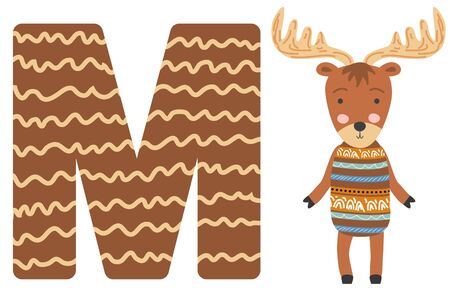 Cute animal alphabet for ABC book. illustration of cartoon. M letter for the Moose. Ilustracja