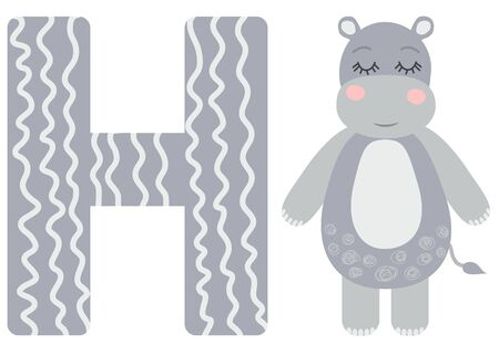 Cute animal alphabet for ABC book. illustration of cartoon . H letter for the Hippo.