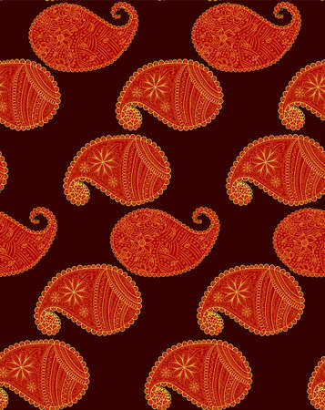 Red seamless pattern with Indian ornament. Turkish cucumber.