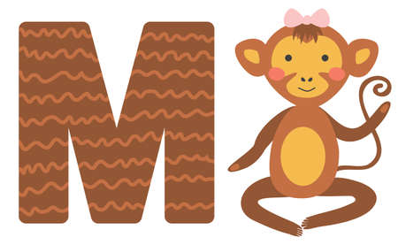 Cute animal alphabet for ABC book. illustration of cartoon. M letter for the Monkey.