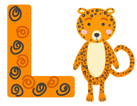 Cute animal alphabet for ABC book. illustration of cartoon . L letter for the Leopard. Ilustracja