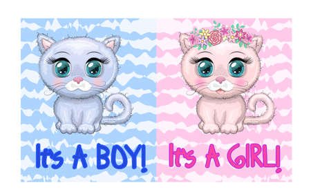 Baby Shower greeting card with Cute Kittens boy and girl Illustration