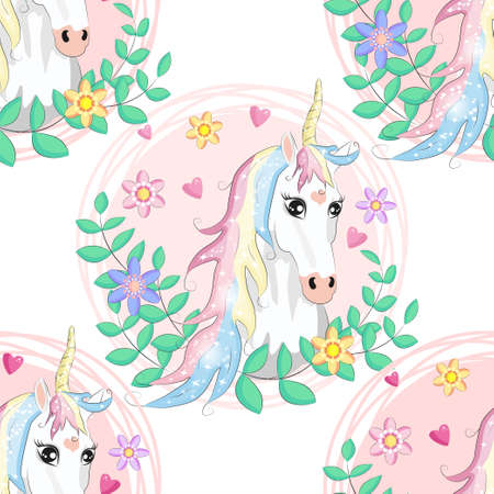 seamless pattern with cute unicorns, clouds,rainbow and stars. Magic background with little unicorns. Ilustracja