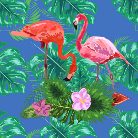 pattern of trendy bird pink flamingos. art design wallpaper. Ilustracja